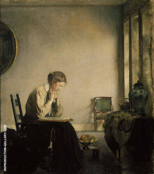 Girl Reading 1909 By Edmund C Tarbell