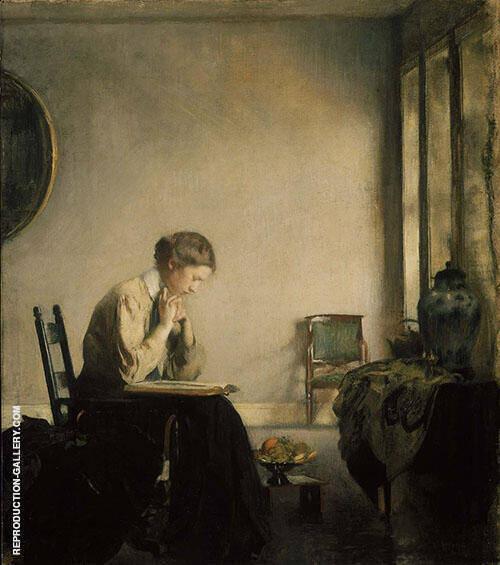 Girl Reading 1909 By Edmund C Tarbell