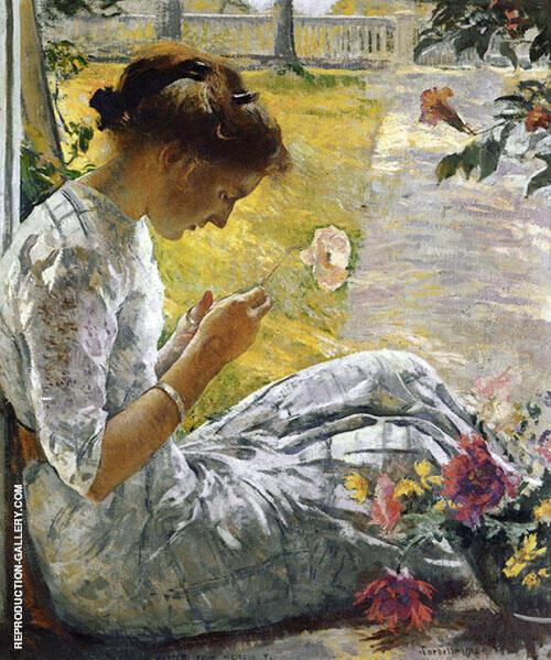 Mercie Cutting Flowers 1912 By Edmund C Tarbell Replica Paintings on Canvas - Reproduction Gallery