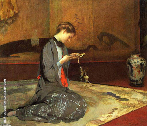 Girl Cutting Origami By Edmund C Tarbell