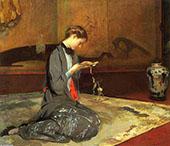 Girl Cutting Origami By Edmund C Tarbell