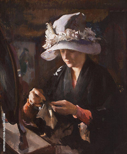 Women Mending a Glove By Edmund C Tarbell