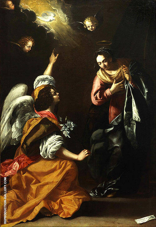 Annunciation Painting By Artemisia Gentileschi - Reproduction Gallery