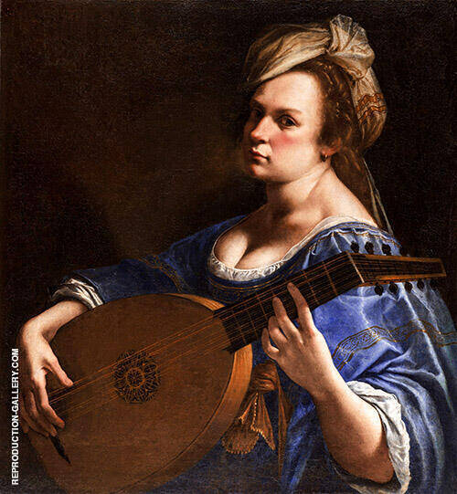 Self Portrait as a Lute Player 1615 By Artemisia Gentileschi