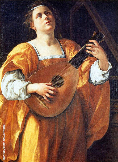 St Cecilia Playing a Lute Painting By Artemisia Gentileschi