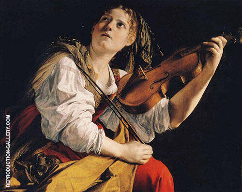 Young Woman Playing The Violin Painting By Artemisia Gentileschi