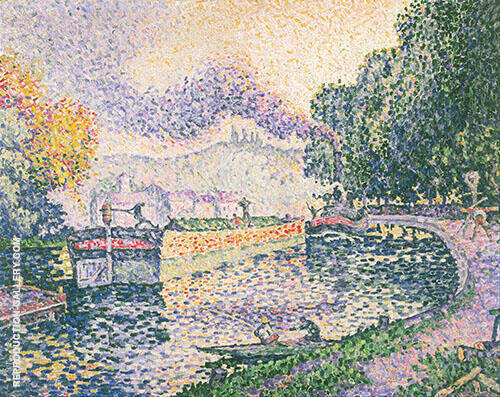 The Tugboat Canal in Samois 1901 Painting By Paul Signac