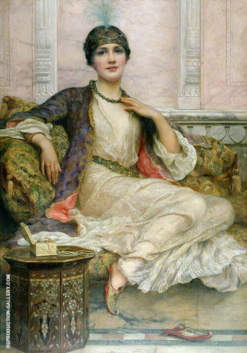 Jade Necklace for an Eastern Princes Painting By William Clarke Wontner