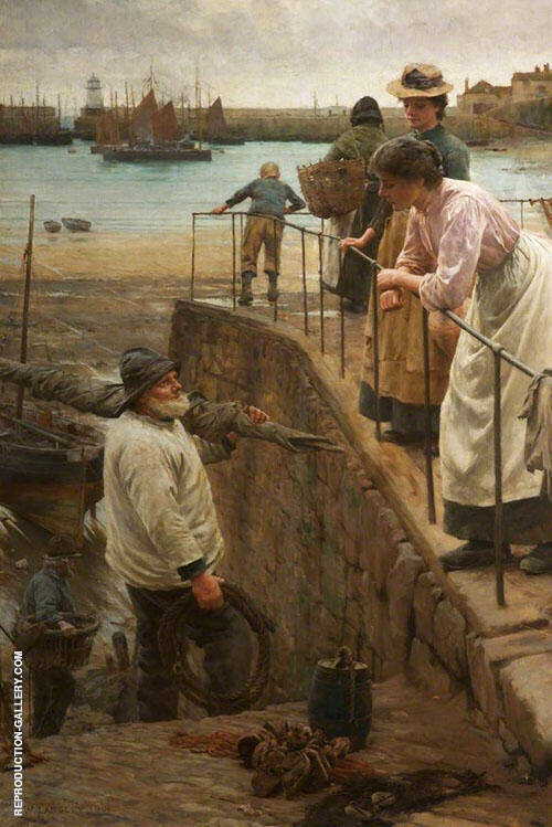 Walter Langley Between The Tides 1901 Painting By Walter Langley