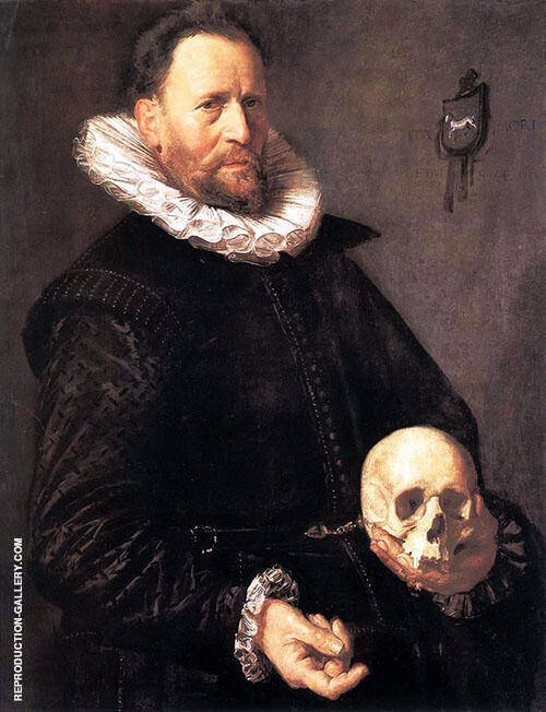 Portrait of a Man Holding a Skull 1615 Painting By Frans Hals