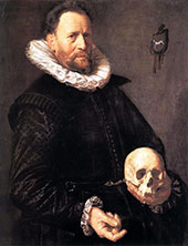 Portrait of a Man Holding a Skull 1615 By Frans Hals