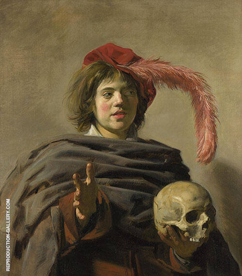 Young Man with a Skull 1626 Painting By Frans Hals - Reproduction Gallery