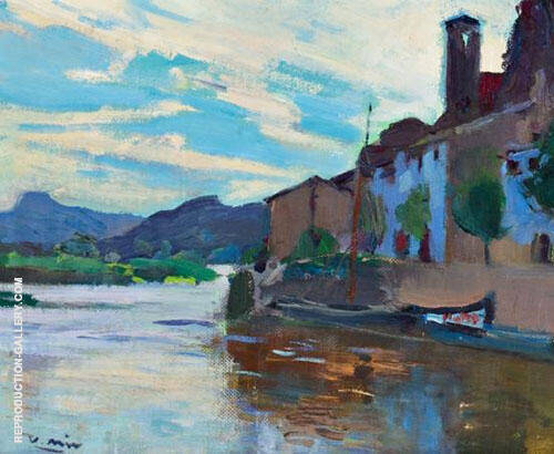 Village at The Ebro By Joaquin Mir Trinxet