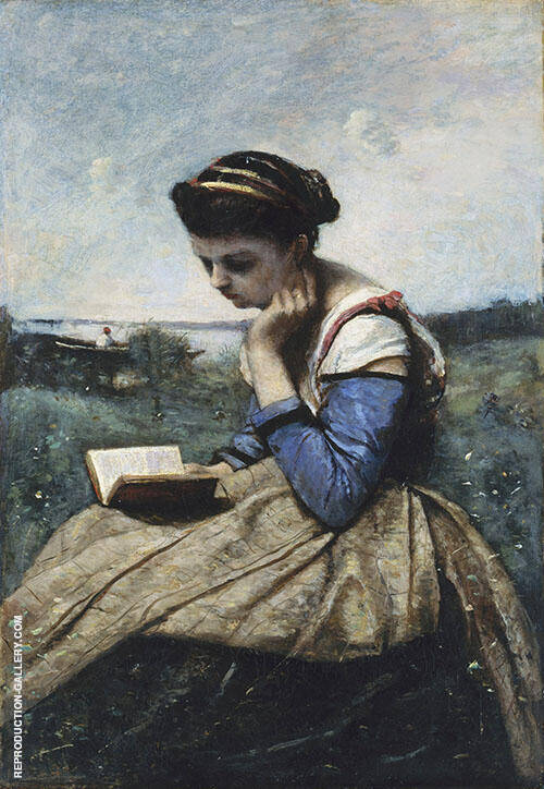 A Woman Reading 1869 By Jean-baptiste Corot