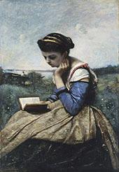 A Woman Reading 1869 By Jean-baptiste Corot