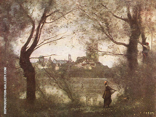 Cathedral of Mantes with Young Woman 1860 By Jean-baptiste Corot
