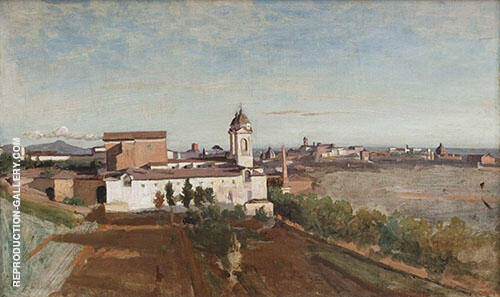 La Trinite des Monts seen from The Villa Medici 1825 By Jean-baptiste Corot