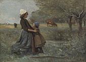 Les deux Soeurs Dans la Prairie 1860 By Jean-baptiste Corot