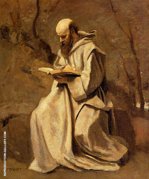 Monk Reading Book 1850 By Jean-baptiste Corot