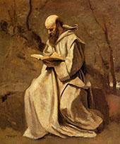 Monk Reading Book 1850 By Jean-baptiste Corot