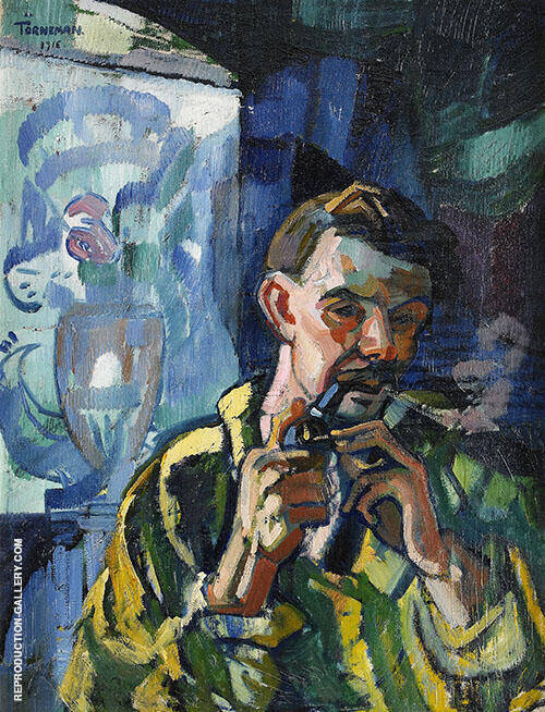 Self Portrait with Pipe 1916 By Axel Torneman