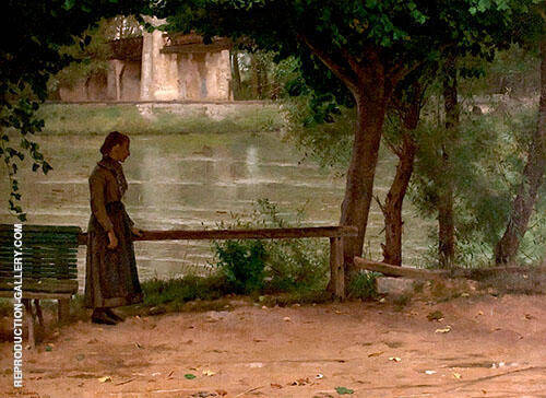 on The Banks of The Oise 1883 Painting By Dennis Miller Bunker