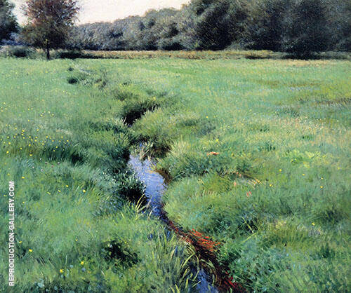 The Brook Medfield 1889. Painting By Dennis Miller Bunker