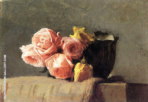 Yellow and Pink Roses c1886 By Dennis Miller Bunker