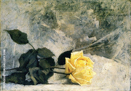 Yellow Roses 1886 Painting By Dennis Miller Bunker - Reproduction Gallery