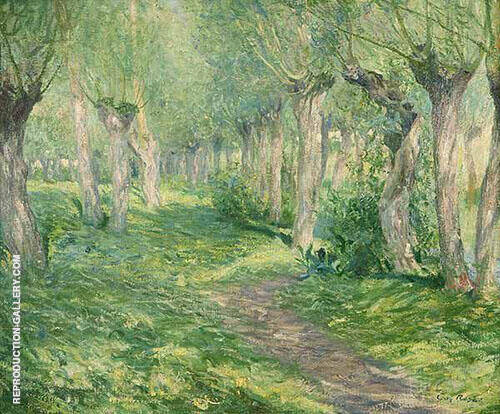 Shifting Shadows Giverny Landscape with Willow Trees near a River By Guy Rose