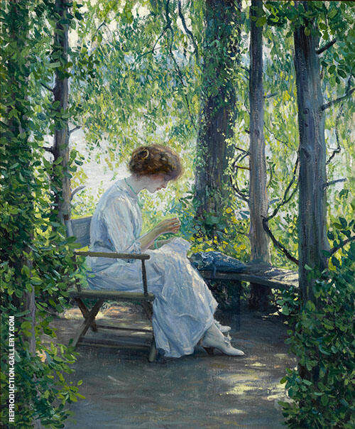 Woman Sewing Painting By Guy Rose - Reproduction Gallery