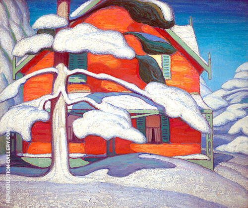 Pine Tree and Red House Winter City Painting II 1924 Painting By ...