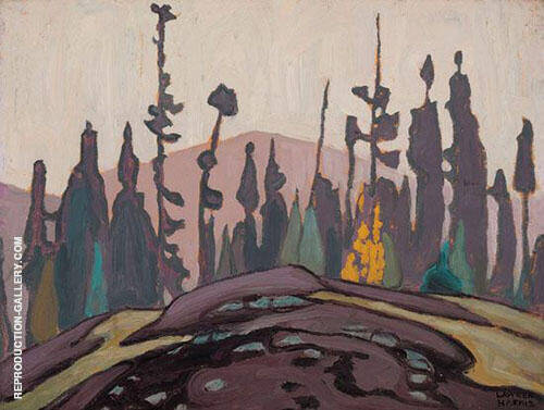 Rock Spruce and Hill Lake Superior Sketch 1922 Painting By Lawren Harris