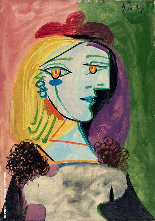 Girl with Red Beret and Pom Pom 1937 By Pablo Picasso