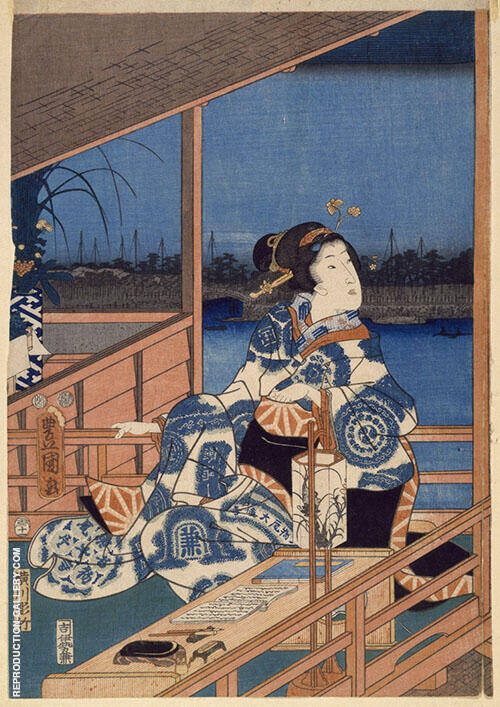 View of Tsukuda with Lady on a Balcony Painting By Hiroshige