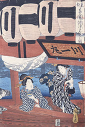 Enjoying the Fireworks and the Cool of the Evening at Royogoku Bridge By Hiroshige