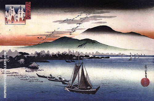 Fishing Boats on a Lake By Hiroshige