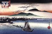 Fishing Boats on a Lake By Hiroshige