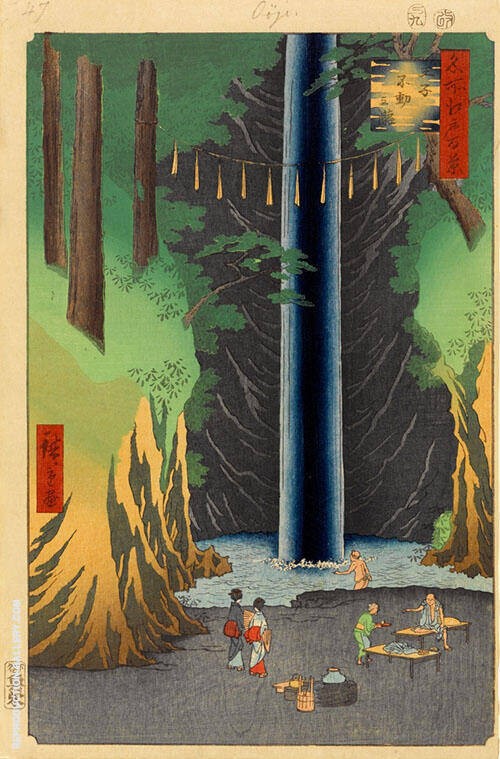 Fudo Falls Oji 1857 Painting By Hiroshige - Reproduction Gallery