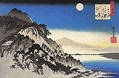 Full Moon over a Mountain Landscape By Hiroshige