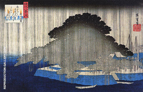 Heavy Rain on a Pine Tree By Hiroshige