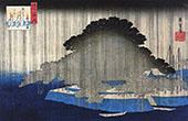 Heavy Rain on a Pine Tree By Hiroshige
