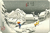 A Snowy Evening at Kambara Station By Hiroshige