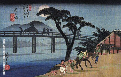 Man on a Horseback Crossing a Bridge Painting By Hiroshige
