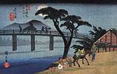 Man on a Horseback Crossing a Bridge By Hiroshige