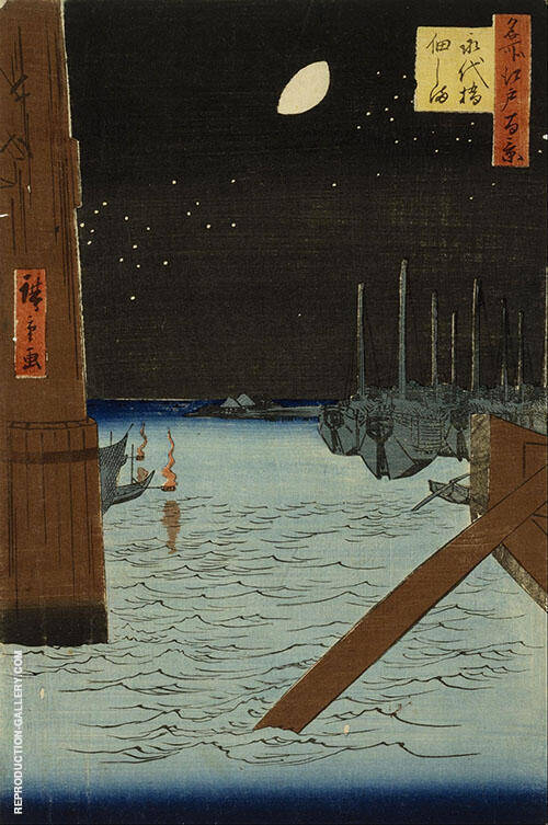 Moon over Ships Moored at Tsuduka Island from Eitai Bridge By Hiroshige