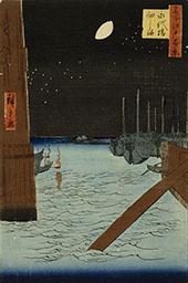 Moon over Ships Moored at Tsuduka Island from Eitai Bridge By Hiroshige