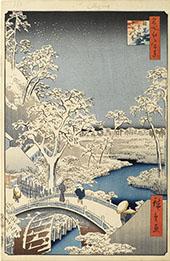 Kaiju At Meguro Drum Bridge By Hiroshige