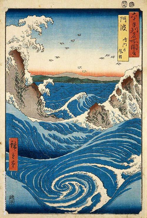 Naruto Whirlpool, Awa Province By Hiroshige