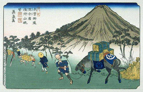 Oiwake on the Kisakaido 1830 Painting By Hiroshige - Reproduction Gallery
